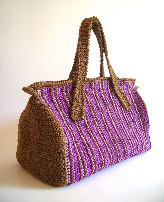 Crochet Back Bag : Crochet pattern for striped crochet bag. DIY, crochet back and forth ...