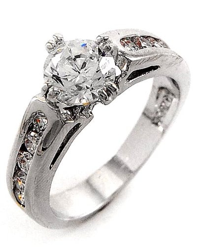 Cubic Zirconia Engraved Ring