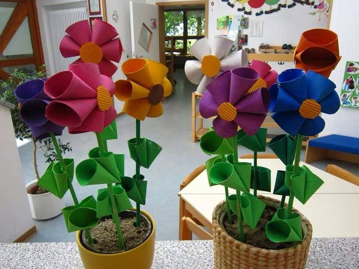 Цветы из бумаги в горшке своими руками из бумаги 84