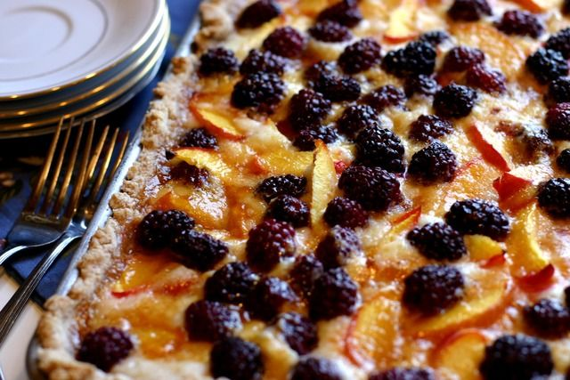 nectarine blackberry slab pie. with fresh blackberries from the yard ...