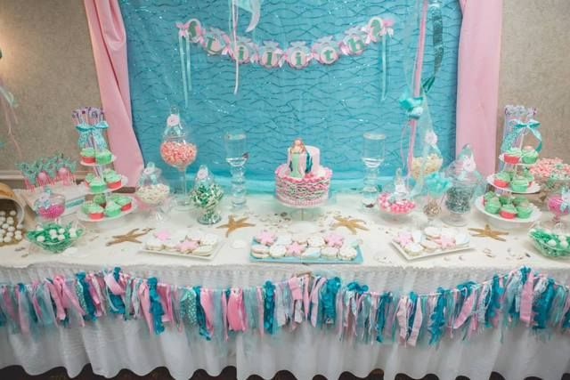 vintage mermaid baby shower party ideas