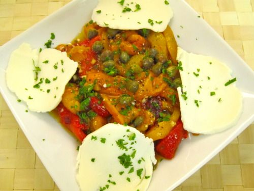 Damn Delicious, Roasted Peppers with Capers and Mozzarella