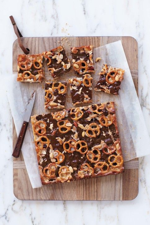 chocolate peanut butter pretzel bars - Photo by Nicole Franzen. Courtesy of Martha Stewart Living. Copyright © 2014.