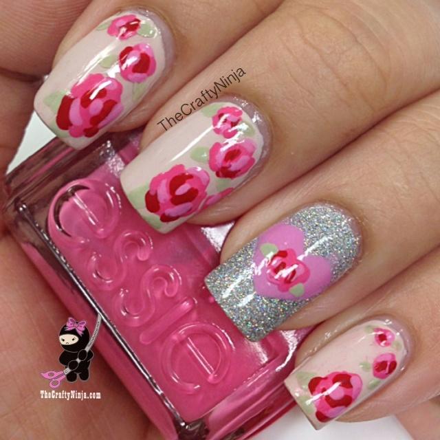 rose nail design | Nails | Pinterest