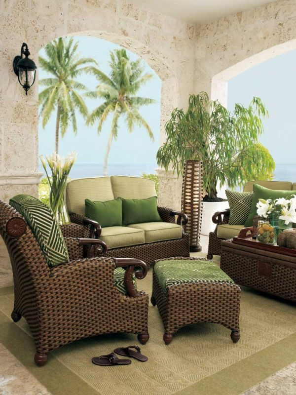 Green wicker living room furniture home decor pinterest for Wicker living room furniture