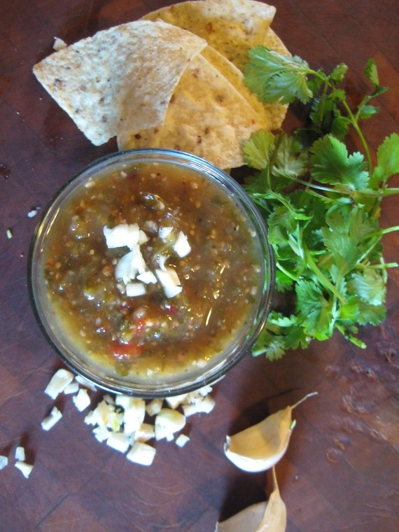 Roasted Tomatillo and Garlic Verde Salsa | Regular Baking | Pinterest