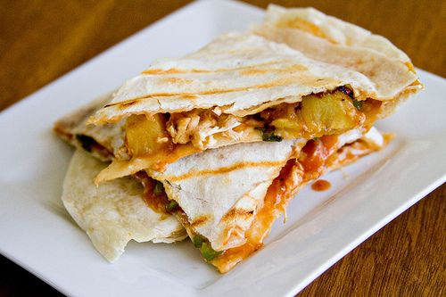 bbq chicken and pineapple quesadillas | What's for dinner | Pinterest