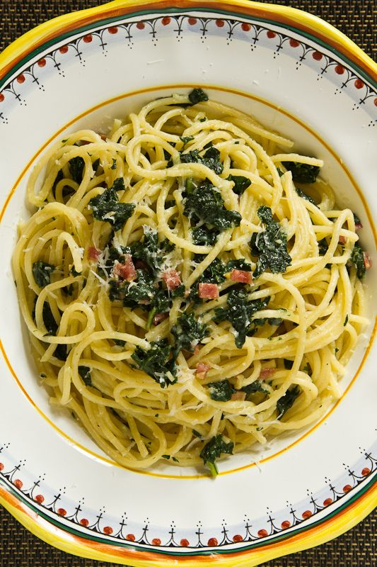 Spaghetti with Kale, Salami and Toasted Garlic (added crushed red ...