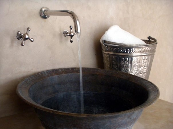 original  antique hammam bucket  and hand made copper sink @LA MAISON