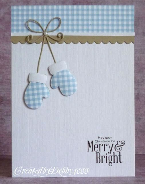 handmade winter/Christmas card from A Scrapjourney .... clean and simple with lots of white space ... luv the subtle texture of the cardstock base ... baby blue gingham printed paper band and gloves ... die cut bow and winter mittons ... sweet card ...
