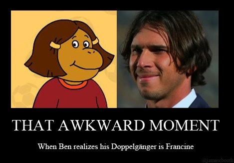 THAT AWKWARD MOMENT...    When Ben Flajnik realizes his Doppelgänger is Francine. #the #bachelor