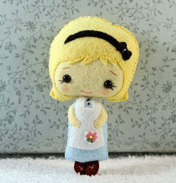 Alice in Wonderland  Doll Collectible Wool Gift by sewfaithful,
