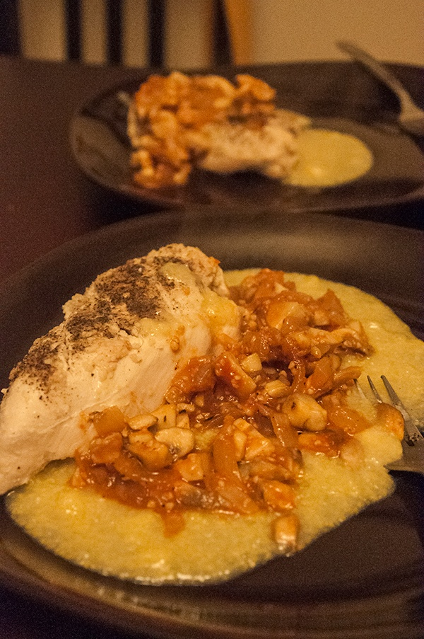 Roast chicken with creamy polenta and mushroom ragout