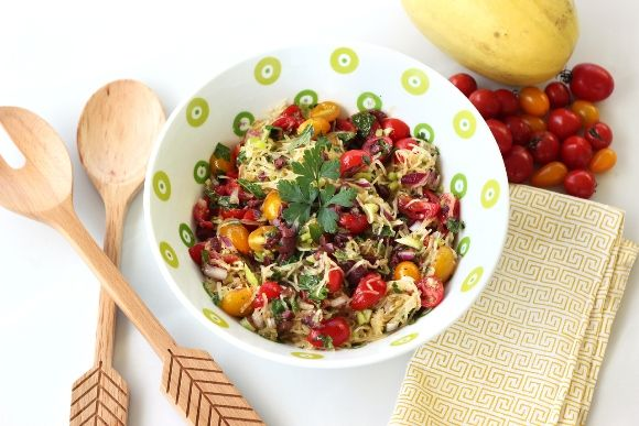 Mediterranean Raw Squash Pasta Salad Recipe — Dishmaps