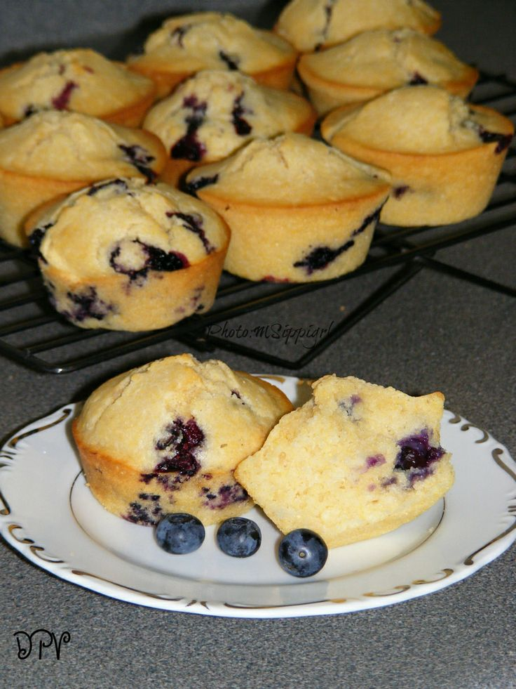 Blueberry Corn Muffins -- slightly sweet corn muffins are perfect with ...