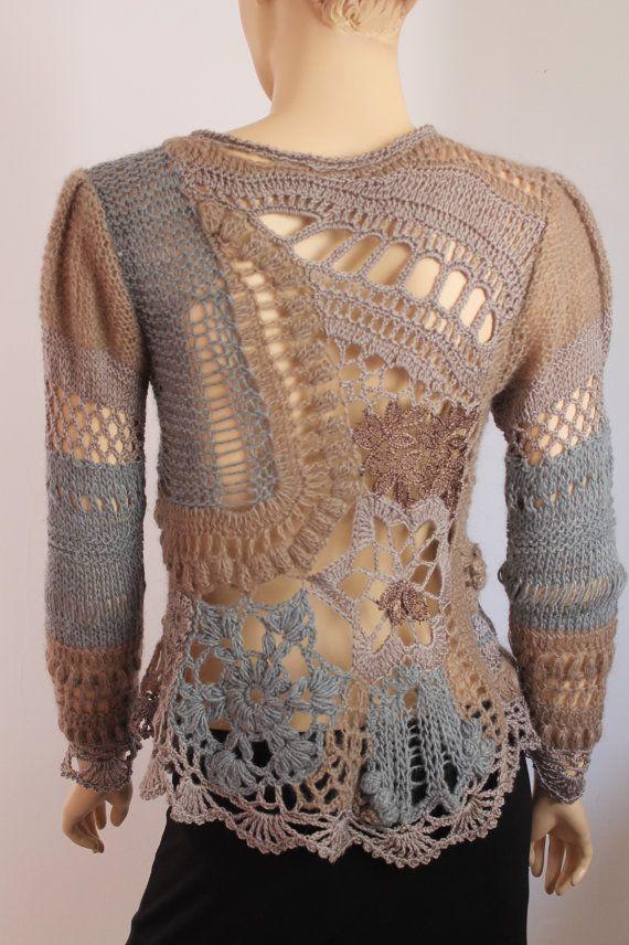 Knitting Wearable Art : Freeform crochet knitting sweater wearable art ooak