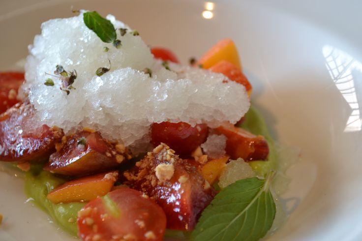 ... avocado purée/ almond vin/ Meyer lemon granita #cheflife #california