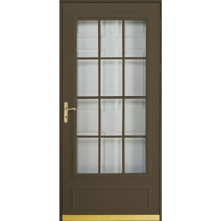 Pella cheyenne brown mid view safety retractable screen for Storm door with roll up screen