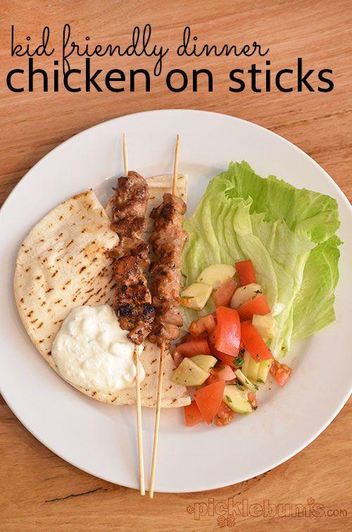 Chicken on Sticks (Marinated Chicken Kebabs) - a kid-friendly meal ...