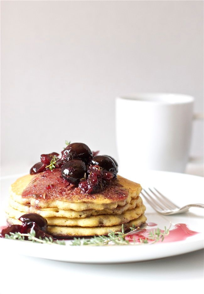 Cookbooking: Sprouted Kitchen | Cornmeal Cakes With Cherry Compote