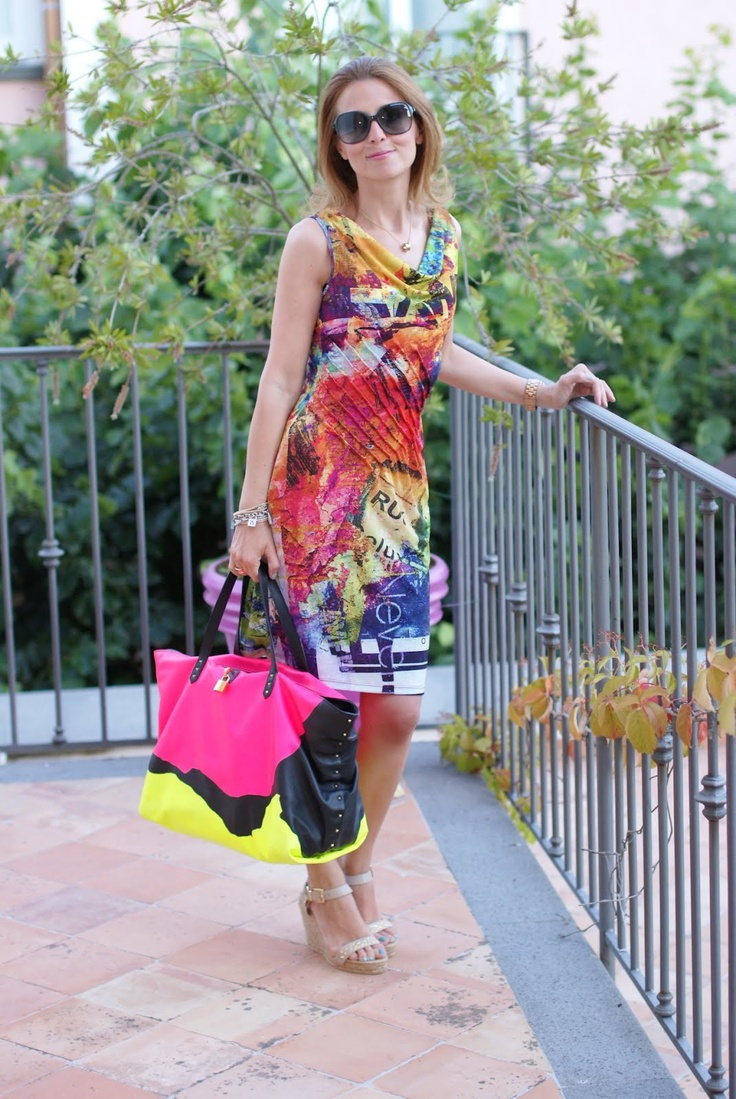 colorful print dress, Paciotti wedges