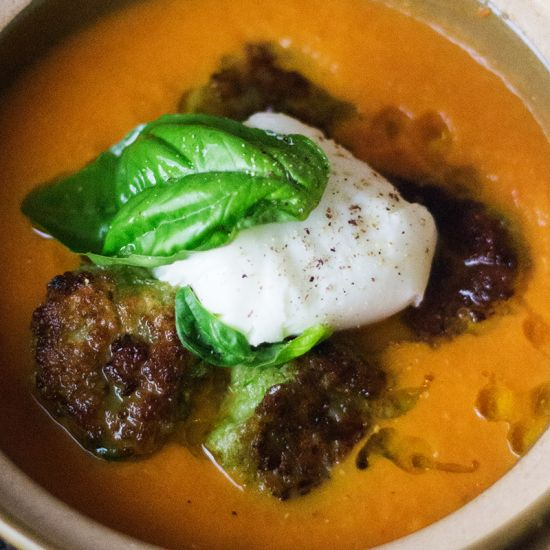 Tomato, Capsicum Soup with Pea Dumplings & Poached Egg - A sweet ...