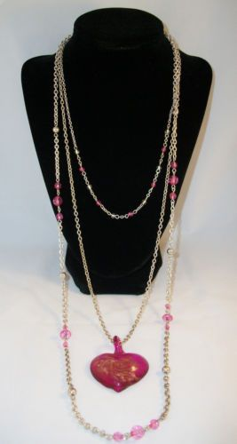 FASHION BUG Silver and Pink, Three-Tiered Beaded Necklace with Pink Heart Pendant. Heart Has a Swirl of Gold Flecks Inside. Excellent Pre-Owned Condition! $15.99 obo (Free S&H)