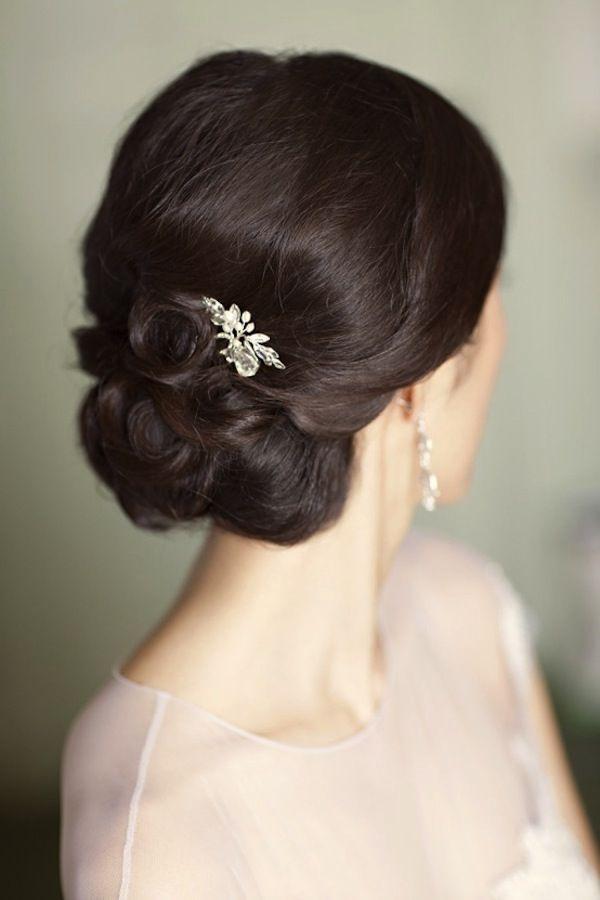 Chignon bun wedding hair