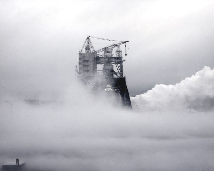 An eerie layer of fog surrounds the A-1 Test Stand at the ...