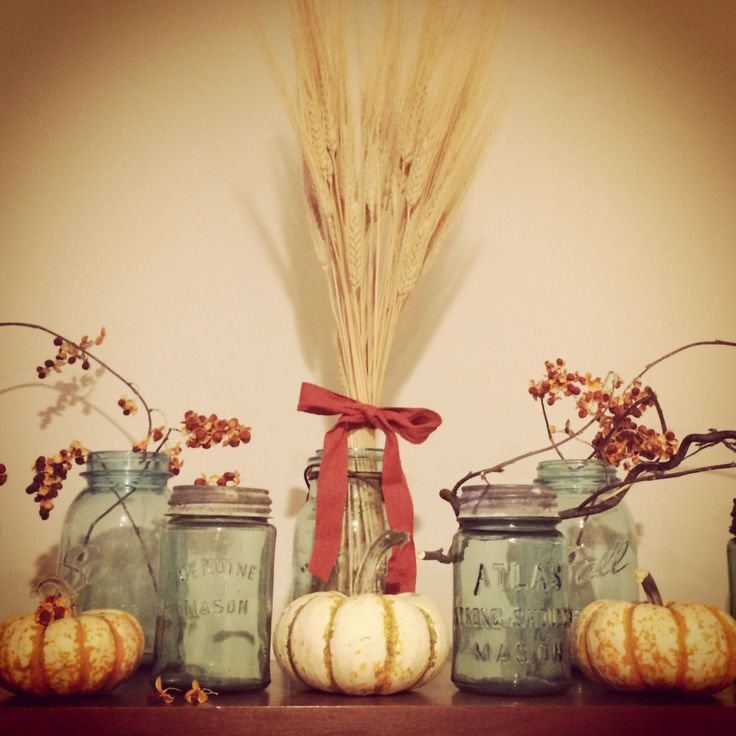 Fall decor with mason jars the leaves are quot falling