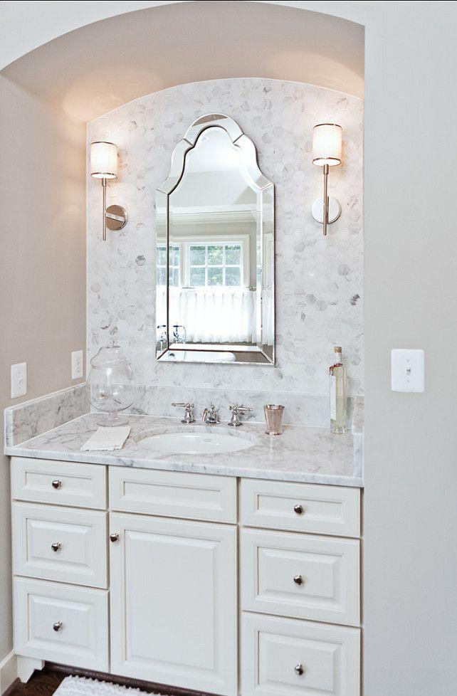 Marble Vanity : marble & white vanity niche Bathrooms Pinterest