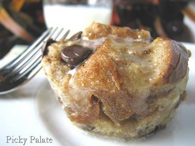 Chocolate chip cinnamon swirl bread pudding with a sweet maple drizzle ...
