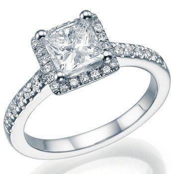 Natural Real Princess Cut Diamond Engagement Halo Ring 14k White or ...