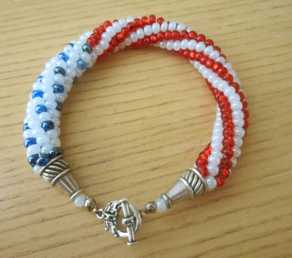 4th of july beaded jewelry