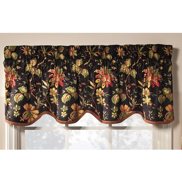 "84"" Floral Rod Pocket Window Curtain Panel by Waverly -- Black ..."
