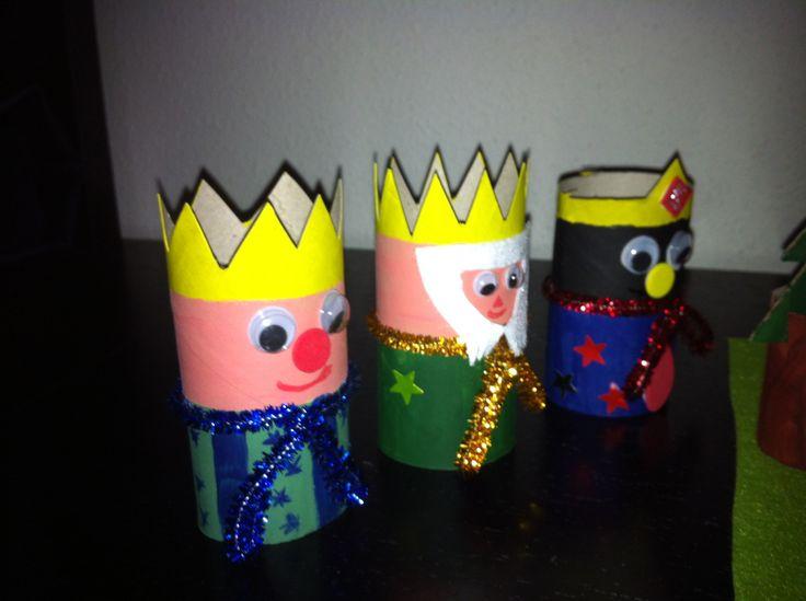 Los tres reyes magos con rollo de papel higi nico diy - Manualidades con rollos de papel higienico navidenos ...