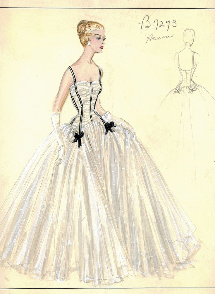 Evening gown sketch by Jacques Heim for Bergdorf Goodman, 1950s.