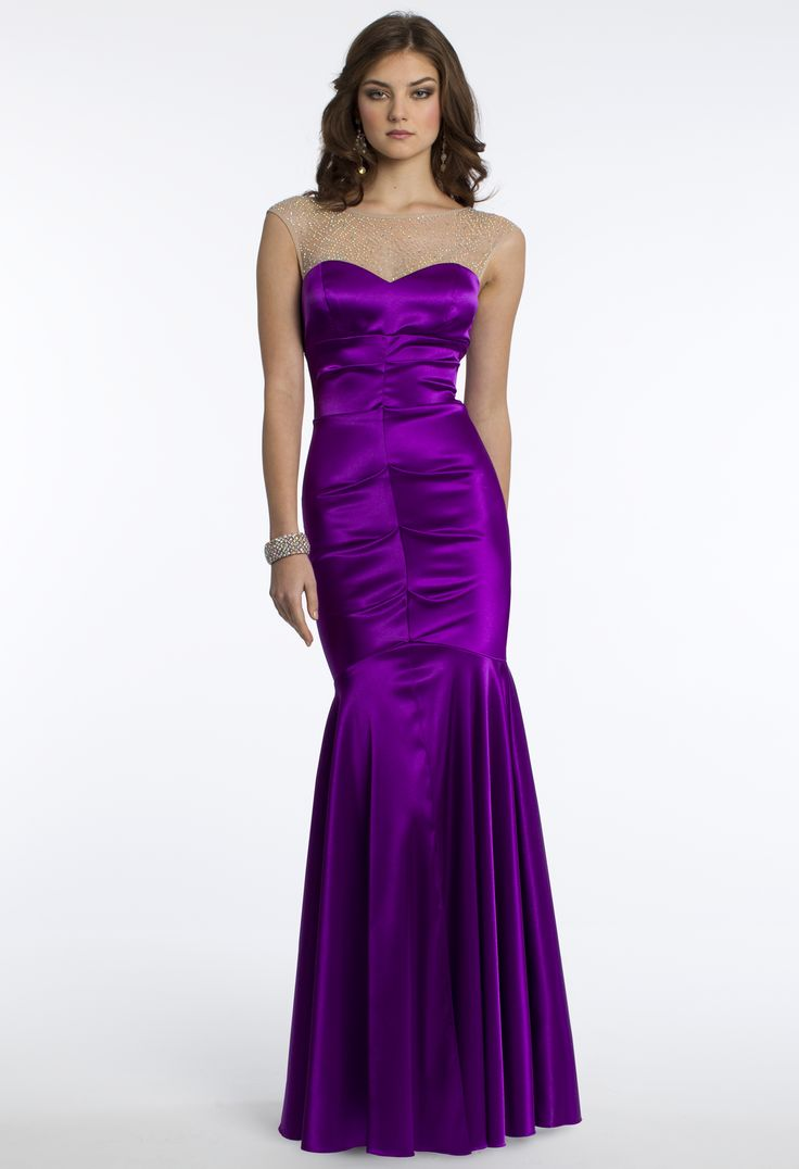 Camille La Vie Stretch Satin Prom Dress with Beaded Illusion