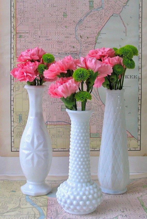 Trio of EO Brody Milkglass Bud Vases by theelmsvintage on Etsy, $21.00