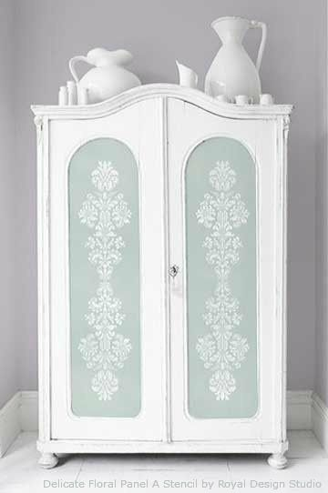 Faded and Worn Painted Cabinet with Stencils and Chalk Paint® decorative paint | Royal Design Studio