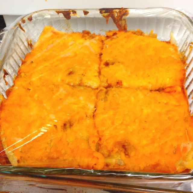 Moms inspired chicken enchilada casserole