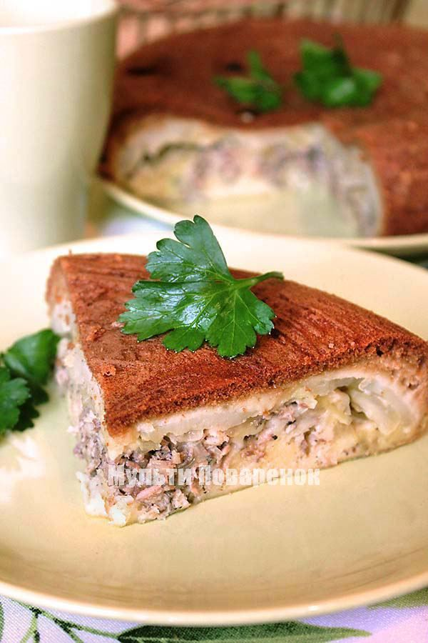 Рецепт пирога с консервой и картошкой на кефире рецепт