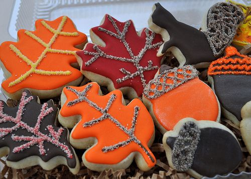 decorated fall cookies