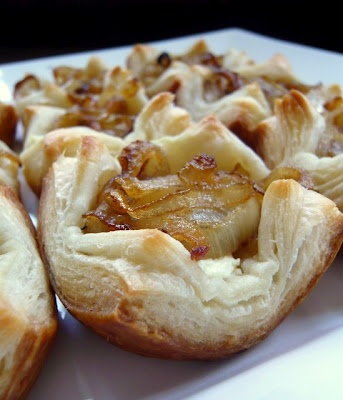 Onion and Goat Cheese Puff Pastries | Favorite Recipes | Pinterest