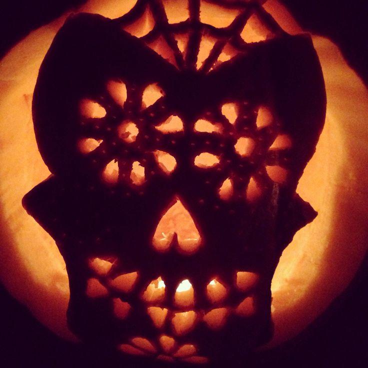Sugar skull pumpkin carving halloweener pinterest