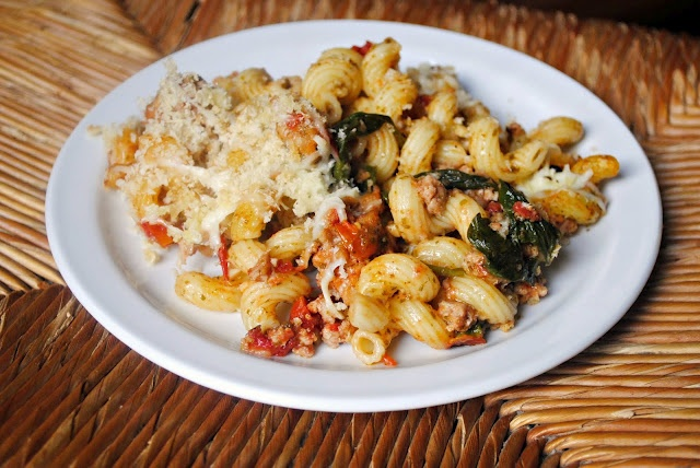 Italian pasta bake with pesto, ground turkey, spinach and fire roasted ...