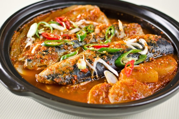 ... Kimchi Jjim - Braised mackerel with radish, Kimchi and Korean chili
