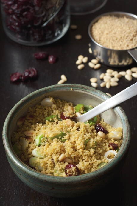 Looks quick and easy, if you happen to have pine nuts and couscous...