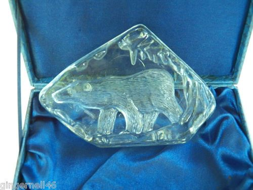 Polar Bear Etched Glass Paperweight in Gift Box Heavy free shipping
