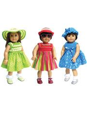Crochet and sew dressed for 18 inch dolls